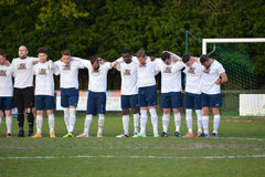 One Minute of Silence - Sussex Football. The players at the AFC Haywards Vs Cuckfield cup final night `Tester Challenge Cup` at Burgess Hill Stadium, 28th April Stock Photos