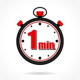 One minute stopwatch. Illustration of one minute stopwatch on white background vector illustration