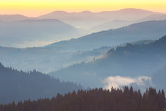 One minute before sunrise, Mountains Landscape Royalty Free Stock Image