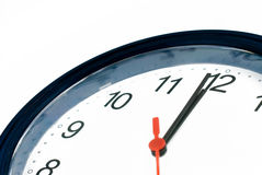 One minute to deadline. Clock shows one minute to midnight stock photos