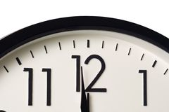 One minute to midnight. Closeup of a clock showing one minute to midnight Stock Image