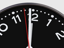 One minute to twelve. Close-up of a clock showing minute to twelve vector illustration