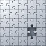 One Missing jigsaw puzzle piece concept. With shadow . 3D rendering royalty free illustration