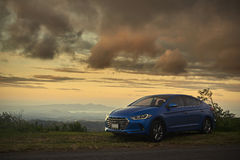 One modern parked blue car Royalty Free Stock Photography