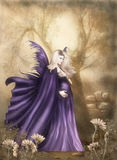 The one Moment. A beautiful pregnant fairy walks through the forest Royalty Free Stock Image