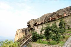 One of the monasteries in the valley of Meteora, Greece. The early Christians built their Church here, escaping from the infidels. The early Christians built Stock Photos