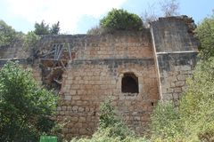 Monfort Fortress, Israel. One of Monfort crusaders fortress buildings Stock Images