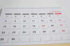 One month calendar page with thirty days. Close-up of a calendar sheet of any month that has thirty calendar days royalty free stock images