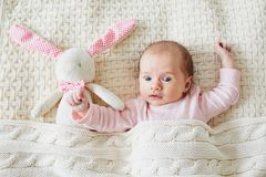 One month old baby girl with pink bunny stock photography