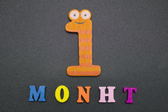 One month. The word and figures one month on a black background Royalty Free Stock Images