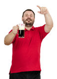 Bearded chap asking more beer. One more beer, please -  bearded middle aged chap in red polo shirt asking on white background Royalty Free Stock Photos