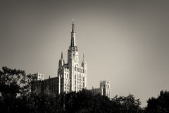 One of Moscow Seven Sisters Skyscrapers. A view of one of Moscow Seven Sisters Skyscrapers in B&W Royalty Free Stock Images