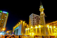 One of the mosques nearby Balad at night in Jeddah Stock Photo