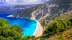 One of the most beautiful beaches of Greece- Myrtos bay in Kefal Stock Image