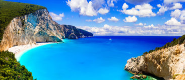 One of the most beautiful beaches of Greece- Porto Katsiki in Le. Beautiful Porto Katsiki bay,Lefkada island,Greece Royalty Free Stock Image