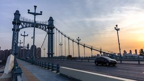 Gutian Bridge over the Hanjiang River, Wuhan City, Hanyang District stock images