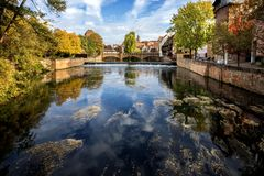 Nuremberg, Max Bruke Bridge over the Pegnitz River. Franconia, Germany royalty free stock photography