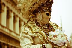 The disguise in the carnival. One of the most beautiful carnivals in the world in the city, Venice, the most beautiful in the world stock images