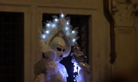 The ghost wanders in the night. One of the most beautiful carnivals in the world in the city, Venice, the most beautiful in the world Royalty Free Stock Images