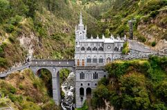 Sanctuary Las Lajas in Colombia royalty free stock image