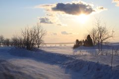 Winter dans le Kamouraska. One of the most cold winter I had in Quebec ,Canada stock photo