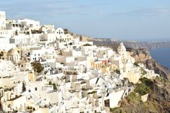 Fantastic white houses in Fira royalty free stock photos