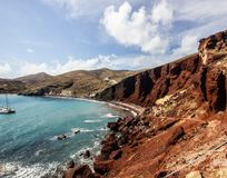 Costal view of the famous beach in Santorini, Greece, Red Beach. One of the most famous beach in Santorini, Greece, Red Beach royalty free stock image