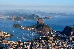 Sugarloaf, Botafogo Beach and Guanabara bay at sunset Stock Image