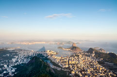 Rio de Janeiro from Corcovado, Brazil. One of the most famous landscapes in the world, this is the view from the Corcovado Mountain, where it is located the Royalty Free Stock Photo
