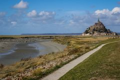 One of the most famous places in British France is the medieval abbey of Saint Michel - a monastery. Saint Michel, France - September 23, 2018: One of the most stock photo