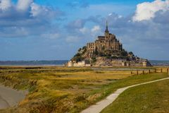One of the most famous places in British France is the medieval abbey of Saint Michel - a monastery. Saint Michel, France - September 23, 2018: One of the most stock image