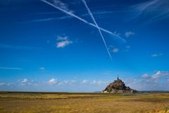 One of the most famous places in British France is the medieval abbey of Saint Michel - a monastery. Saint Michel, France - September 23, 2018: One of the most royalty free stock image
