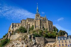 One of the most famous places in British France is the medieval abbey of Saint Michel - a monastery royalty free stock image