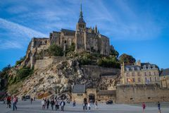 One of the most famous places in British France is the medieval abbey of Saint Michel - a monastery. Saint Michel, France - September 23, 2018: One of the most stock photos