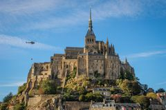 One of the most famous places in British France is the medieval abbey of Saint Michel - a monastery stock photo