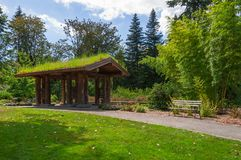 Arbor and bamboo field. One of the most important and popular sight of the Washington Park Arboretum Park Stock Photos