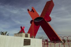 CIUDAD JUAREZ-CHIHUAHUA-MEXICO-JANUARY-2019: Monument to the X in small and large size. stock images