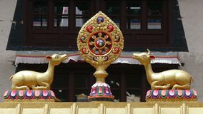 Dharma Wheel Tengboche Buddhist Temple Khumbu Nepal Himalayas 4k. One of the most important symbols of Buddhism - Dharma Wheel on the background of the monastery stock video footage
