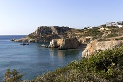 Karpathos island, panorama on Amopi rocky coast - Aegean sea, Dodecanese Islands, Greece. One of the most popular beaches is Amopi beach in the south of stock photos