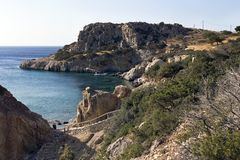Karpathos island, rocky coast with small beaches of Amopi bay - Aegean sea, Dodecanese Islands, Greece. One of the most popular beaches is Amopi beach in the royalty free stock image