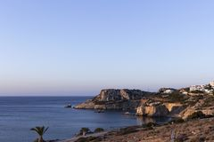 Karpathos island, sunrise at Amopi bay. Aegean sea, Dodecanese Islands, Greece. One of the most popular beaches is Amopi beach in the south of Karpathos stock photography