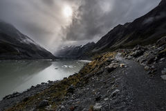 Valley Track, One of the most popular walks in Aoraki/Mt Cook National Park, New Zealand stock image