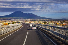 A one motorway from naple to rome passing naple town and vesuviu Stock Images