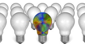 One multicolored iridescent light bulb among white ones Royalty Free Stock Image