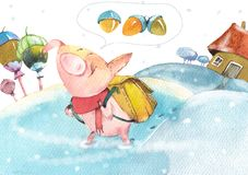 Happy pig goes to collect acorns stock illustration