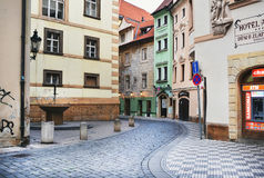 One of the narrow medieval streets in Prague in the early morning Royalty Free Stock Photography