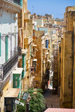 One of the narrow streets of Valletta, Malta Royalty Free Stock Photo