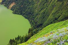 Part of The Green Lake seen from the Vista do Rei King's View, Sao Miguel island. One of the 7 Natural Wonders of Portugal - the Green and Blue Lakes in royalty free stock photo