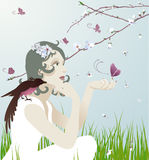 At one with nature stock illustration