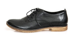 One new black leather shoe Stock Photo